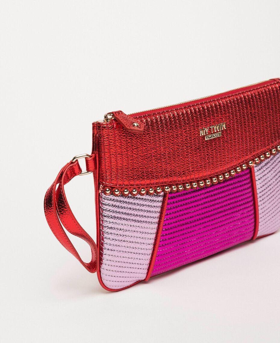 Multicolour faux leather pochette Multicolour Red/ Pink / Fuchsia Woman 201MA7025-01
