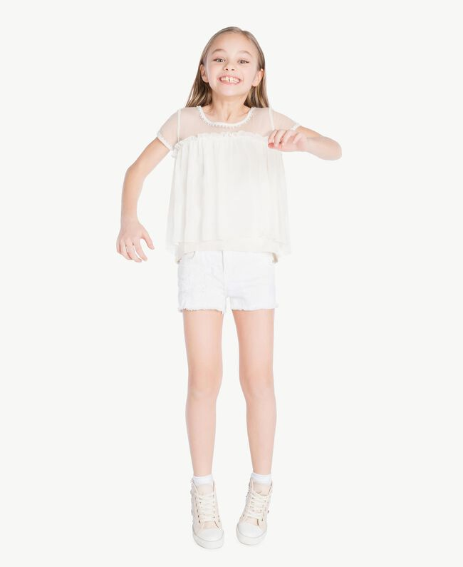 Embroidered blouse Pale Cream Child GS82B2-05