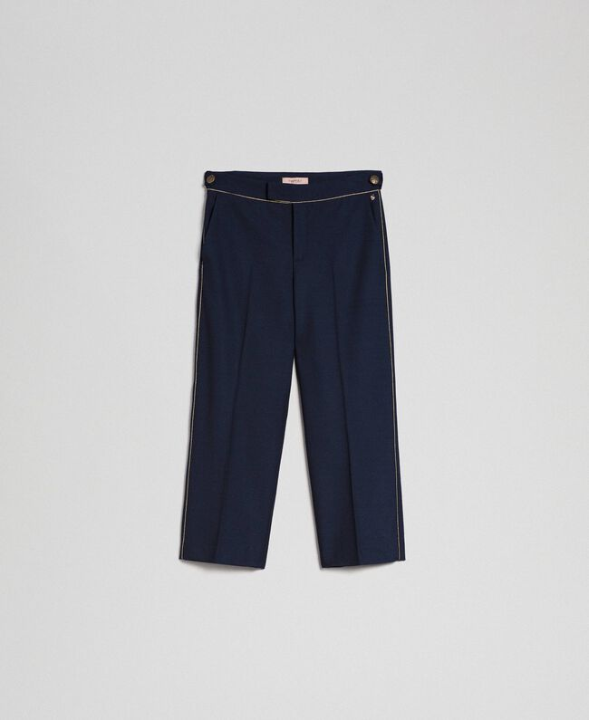 Cigarette trousers in technical wool Midnight Blue Woman 192TT2458-0S