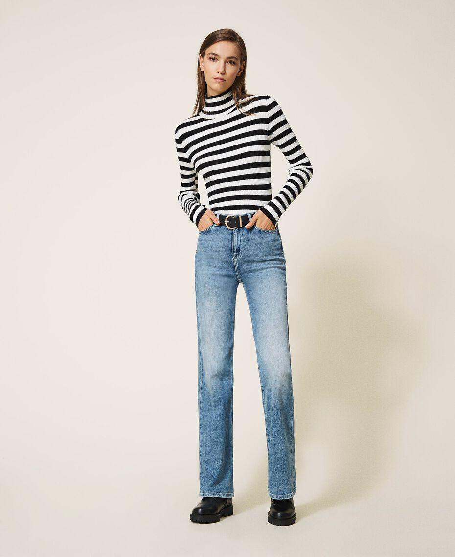 "Wide leg jeans ""Mid Denim"" Blue Woman 202MP2500-01"