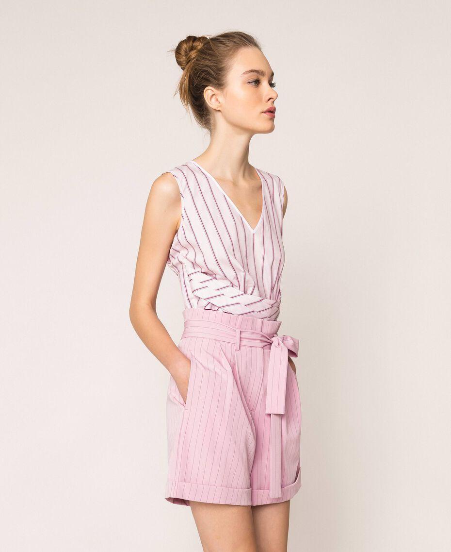 "Pin stripe shorts with belt ""Candy"" Pink Pin Stripe Jacquard Woman 201ST2082-02"