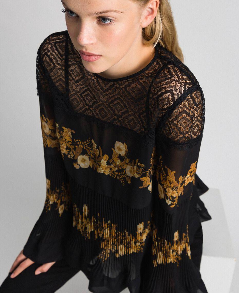 Floral print chiffon blouse Black Baroque Flower Stripes Patch Print Woman 192TT2540-01