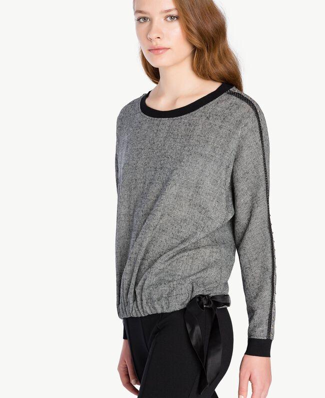 Bluse mit Nieten Grau Melange TA7283-04