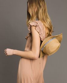 "Hat with animal print strap ""Mid Tan"" Brown Woman 191TA4391-0S"