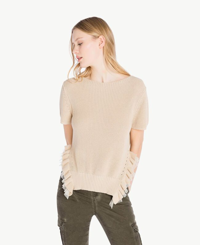 Frilled top Ecrù Woman PS831N-01