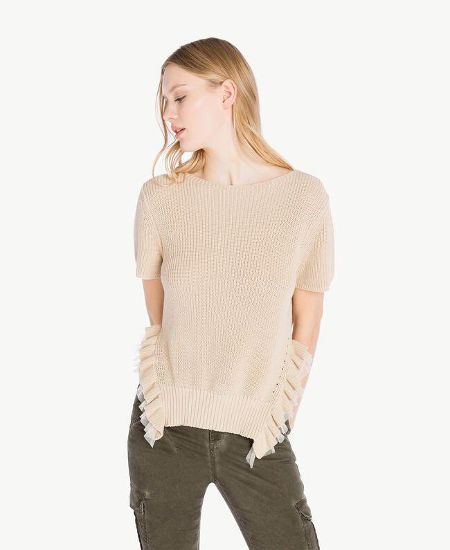 Pullover mit Rüschen Ecrù Frau PS831N-01
