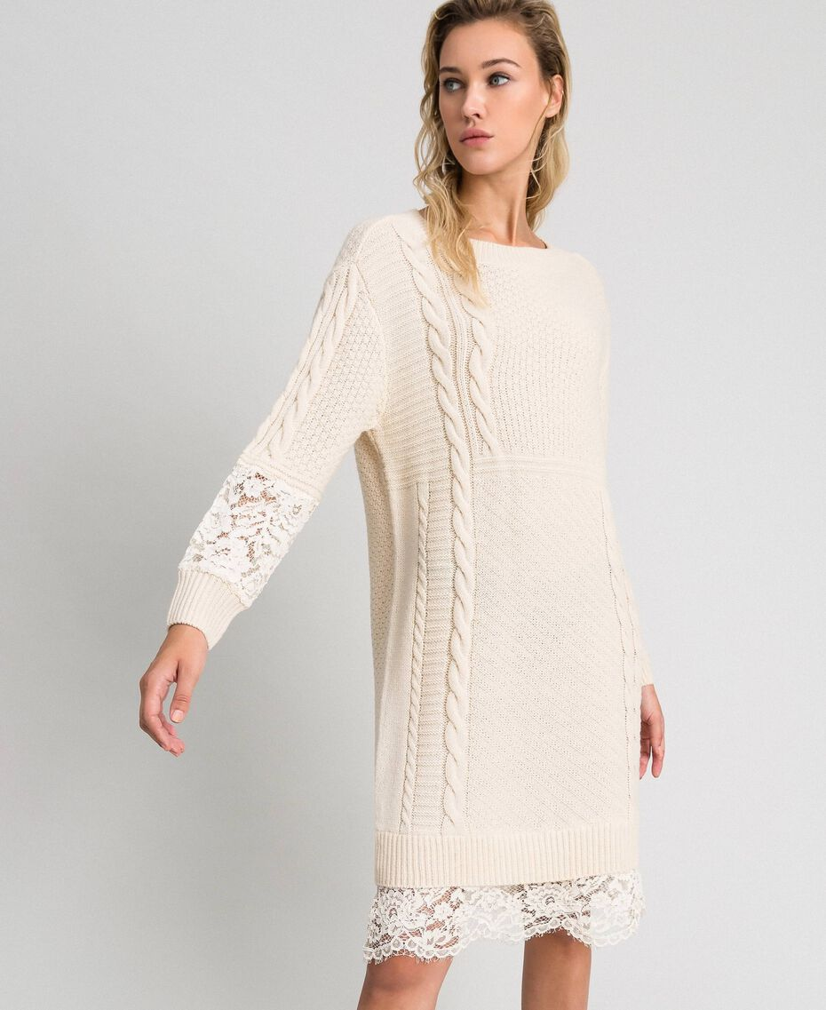 Wool blend dress with mixed stitches and lace Creamy White Woman 192ST3051-02
