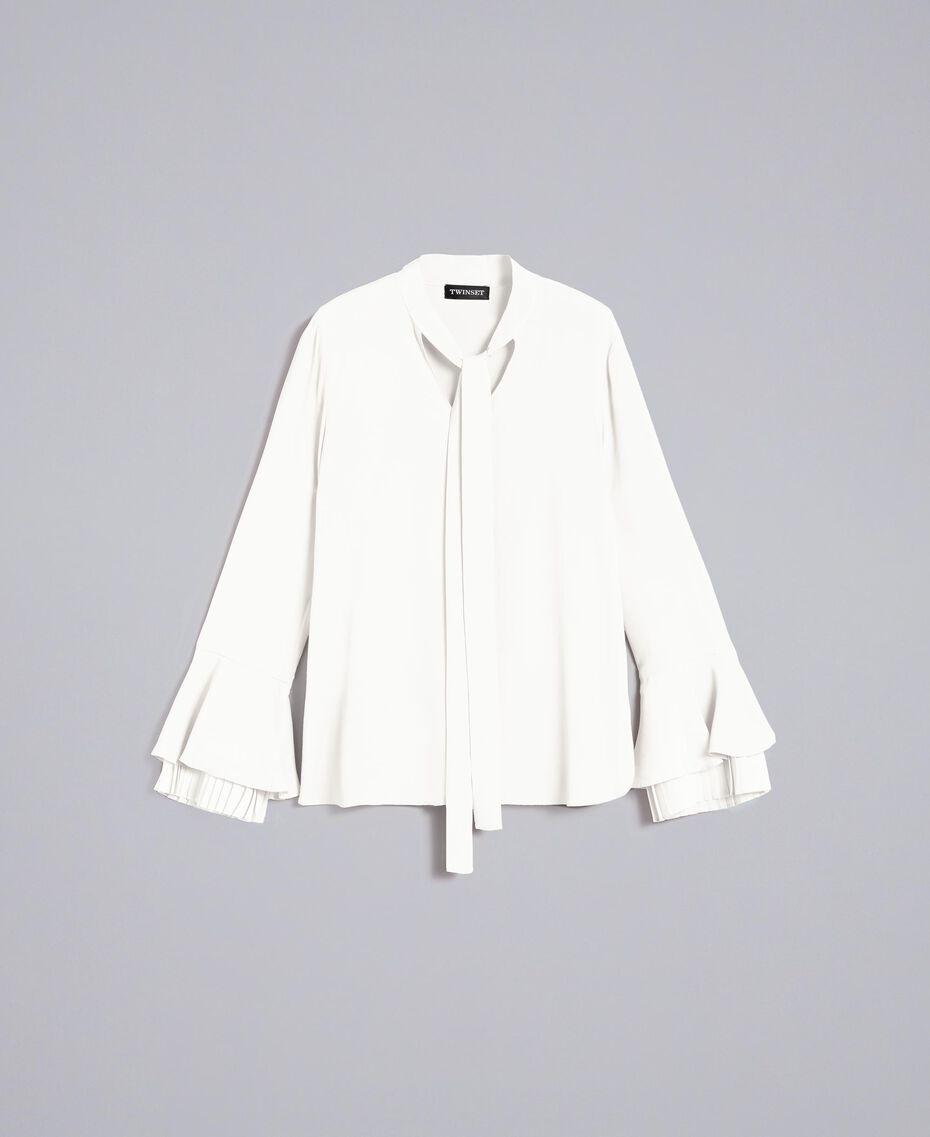 Blusa de seda mixta con plisados White Nieve Mujer TA823T-0S