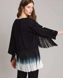 Floral embroidery and fringe blouse Black Woman 191TT2130-03