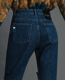 Girlfriend jeans with rips and chains Denim Blue Woman 192MT2223-04
