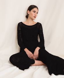 Lace stitch jumper Black Woman 201TP3211-0T