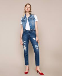 Girlfriend jeans with rips Denim Blue Woman 201MP227E-01