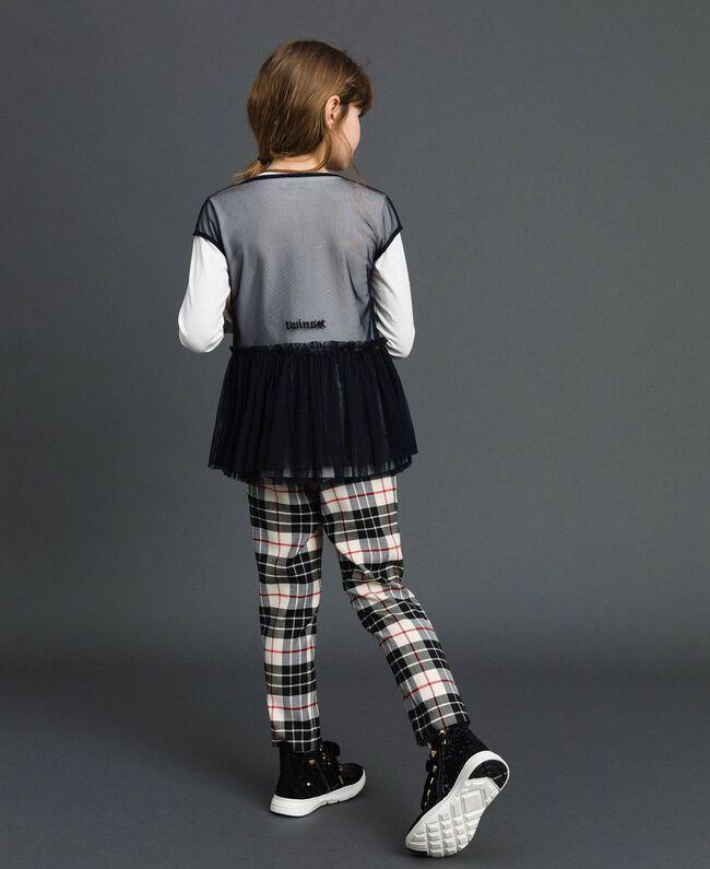Blouse en tulle avec broderies et t-shirt Blanc / Noir Enfant 192GJ2434-03