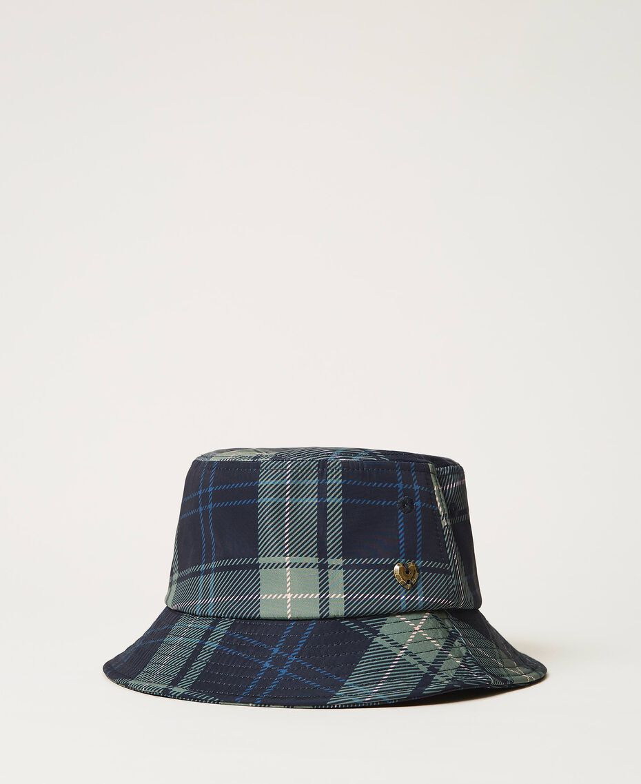 Check print hat Mid Blue Check Print Woman 202MA4371-01