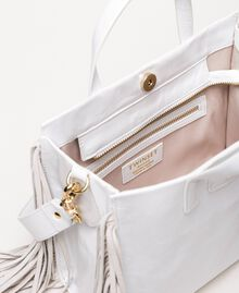 Medium leather shopper with fringes Nougat Beige Woman 201TO8141-04