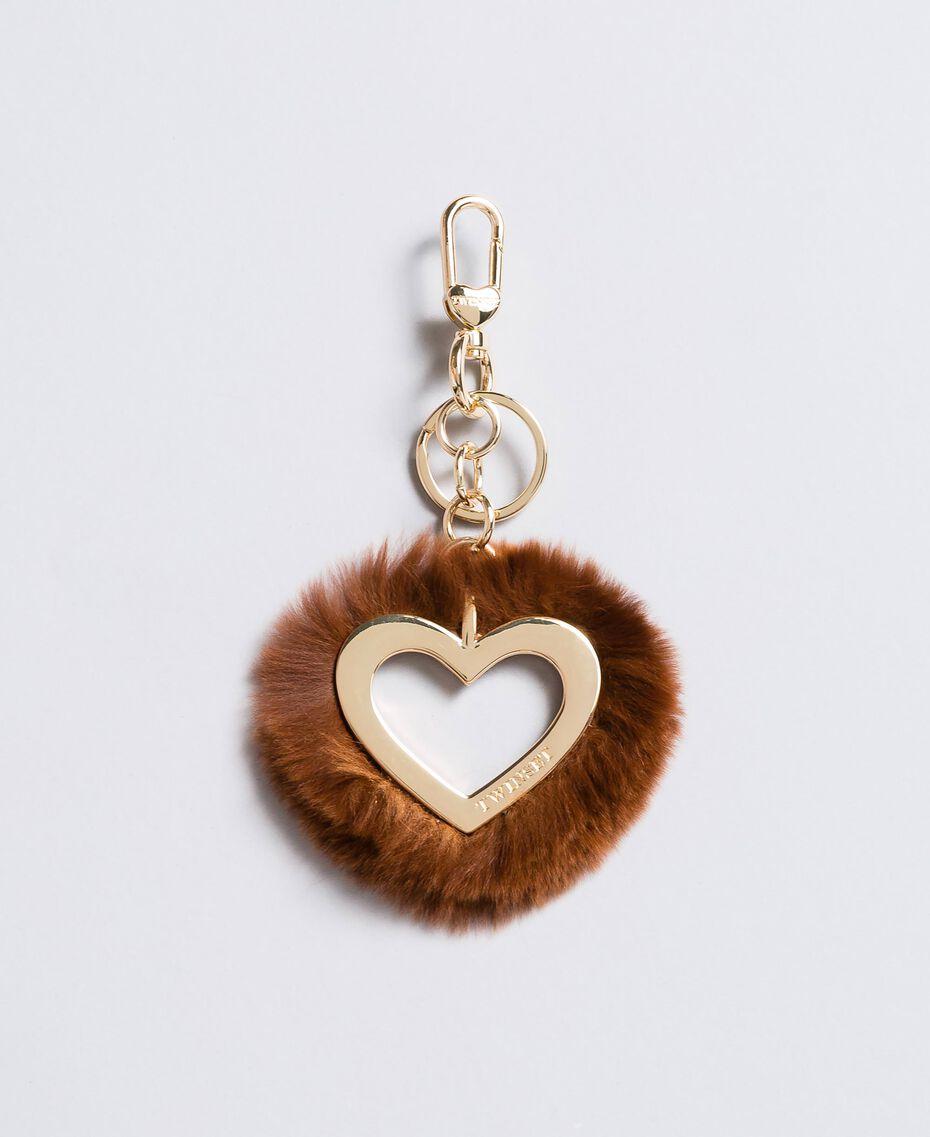 Portachiavi a cuore in pelliccia Bruciato Donna OA8TE1-01