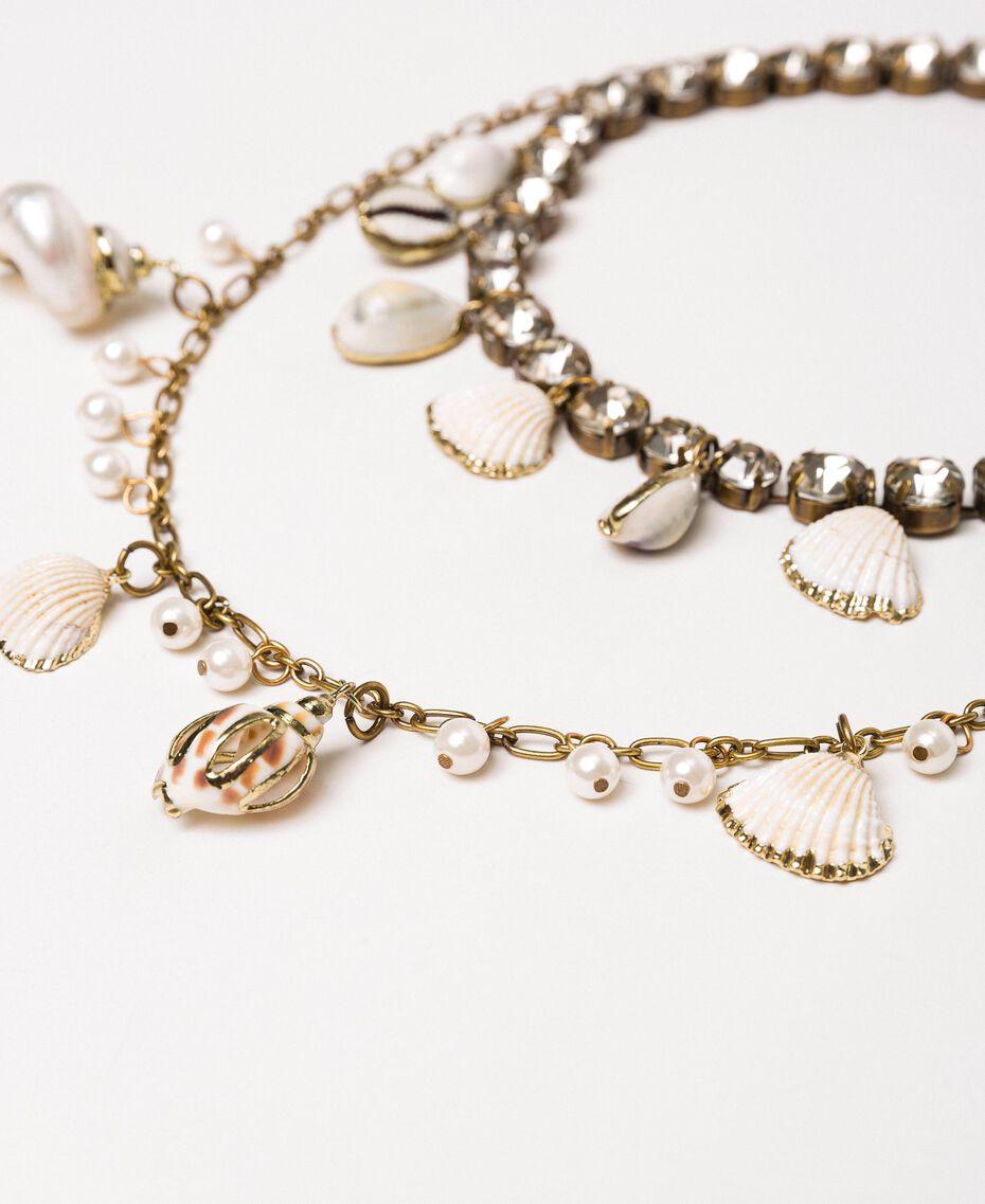 """Ожерелье с подвесками из раковин и жемчужин Золотой """"Состаренная медная латунь"""" женщина 201TO530A-02"""
