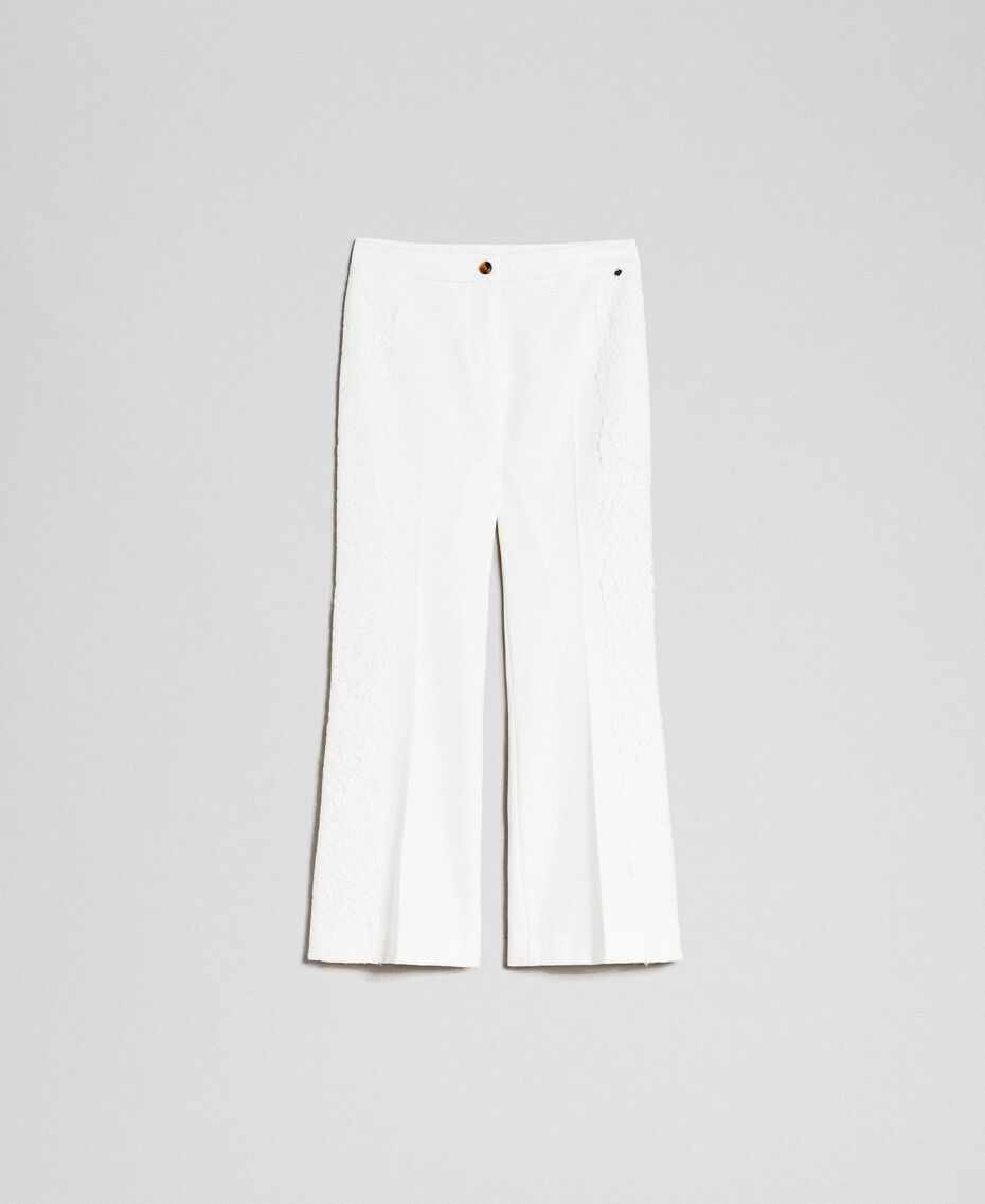 Cropped trousers with lace White Snow Woman 192TT2210-0S
