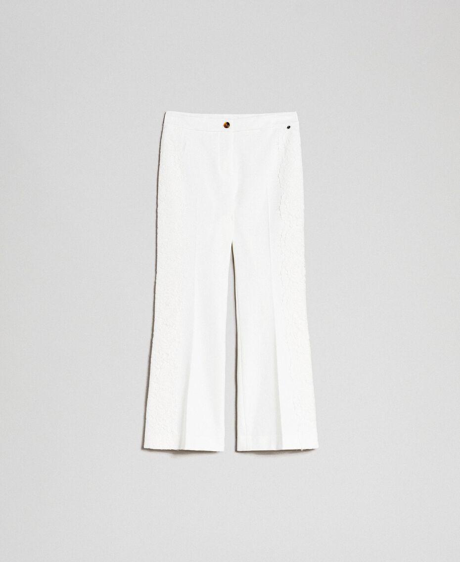Укороченные брюки с кружевом Белый Снег женщина 192TT2210-0S