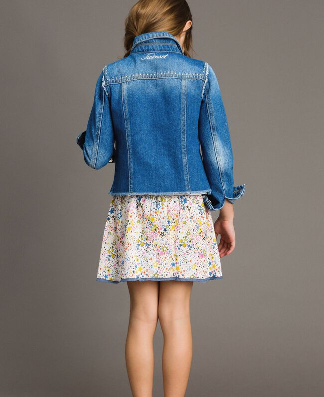 "Denim jacket with embroidery ""Mid Denim"" Blue Child 191GJ2480-04"