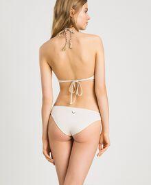 Einfarbige Bikinihose mit hoher Taille Elfenbein Frau 191LMMC66-03