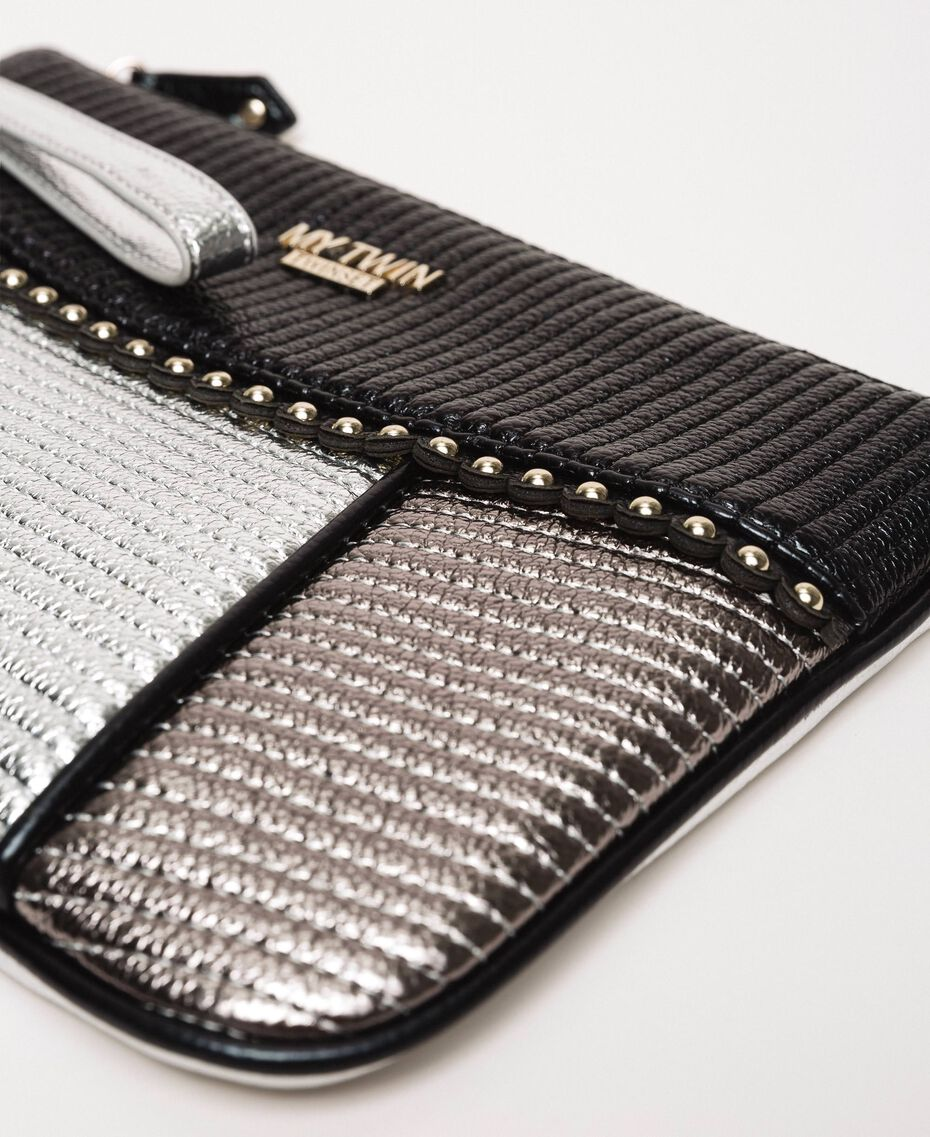 "Multicolour faux leather pochette Multicolour Black / ""Gun Metal"" Grey / Silver Woman 201MA7025-02"