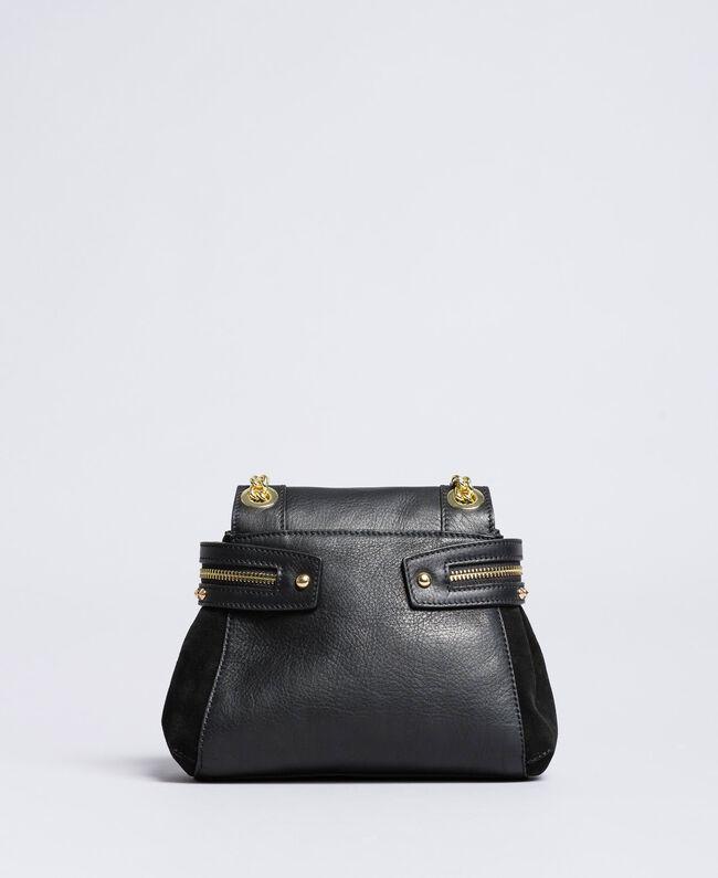 Petit sac Cécile Deux en cuir et cuir velours Noir Femme OA8TC2-04