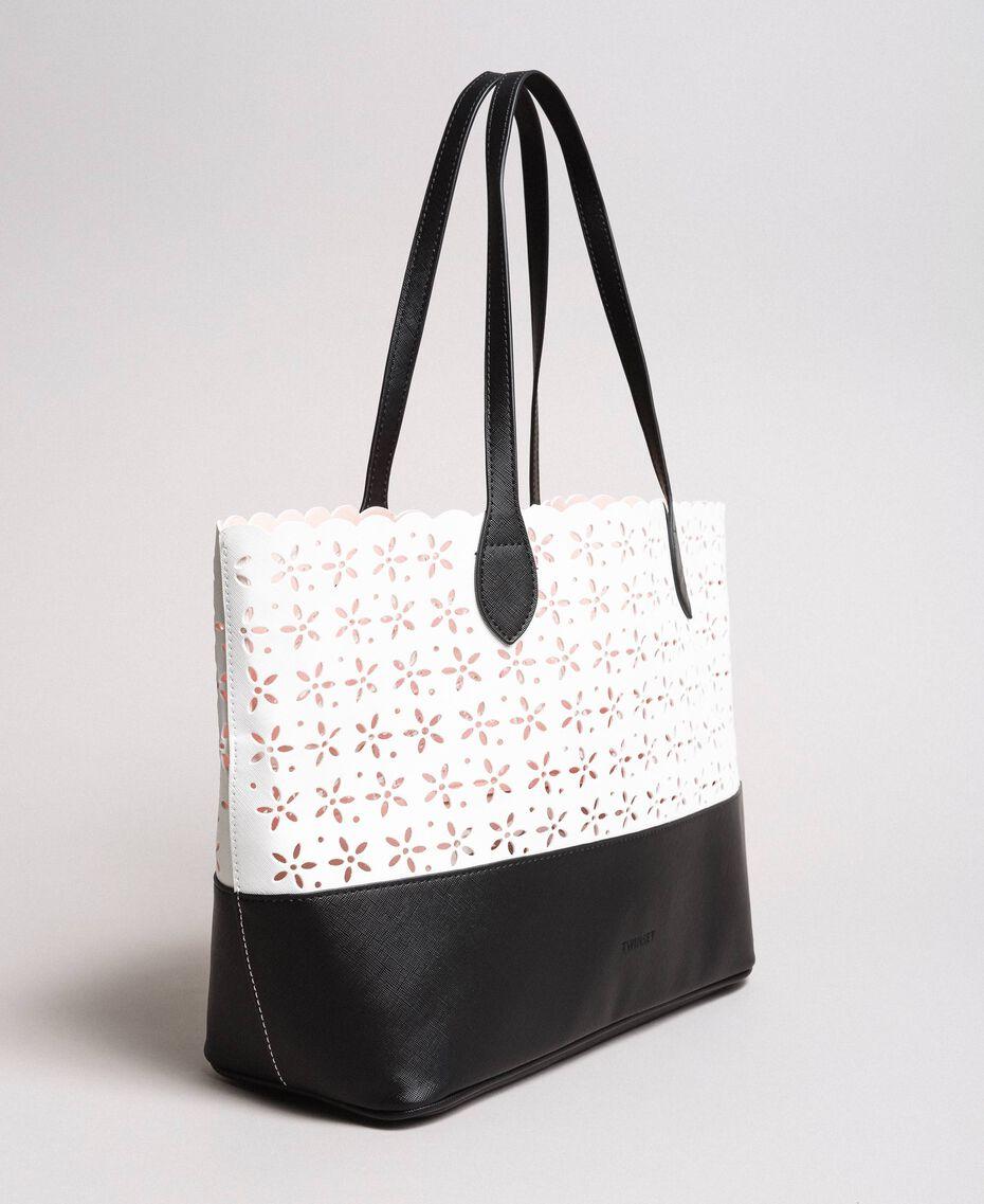 Cabas en similicuir avec motif floral Bicolore Blanc Neige/ Noir Femme 191TA7160-02