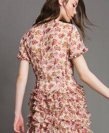 """Maxikleid aus Georgette mit Blumenmuster Motiv """"Blossom"""" Pink Bouquet Frau 191TP2574-05"""