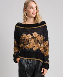 Printed mohair jumper Black Baroque Flower Stripes Mix Print Woman 192TT3332-02
