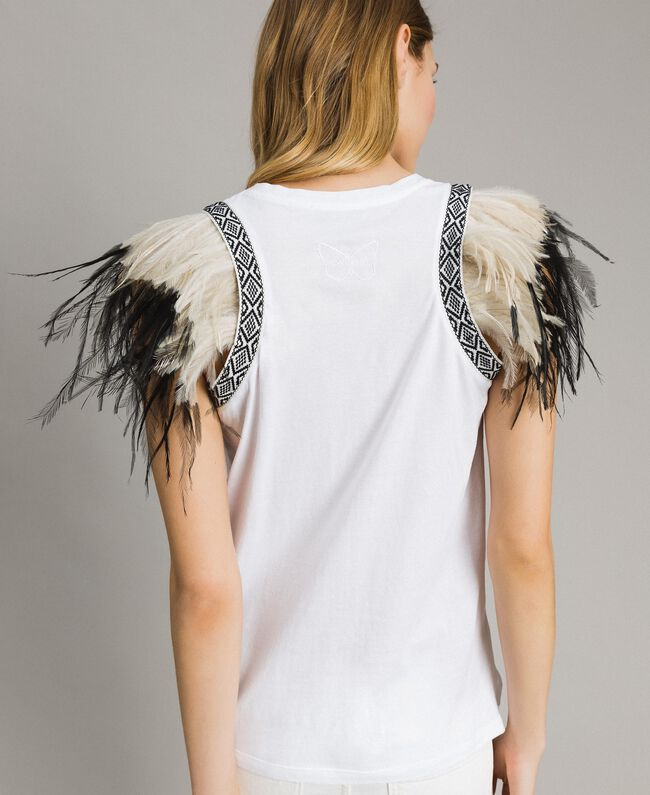 Tank top with removable fadeout feathers White Woman 191TT2205-03