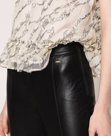 Faux leather leggings with stitches Black Woman 201ST2113-05