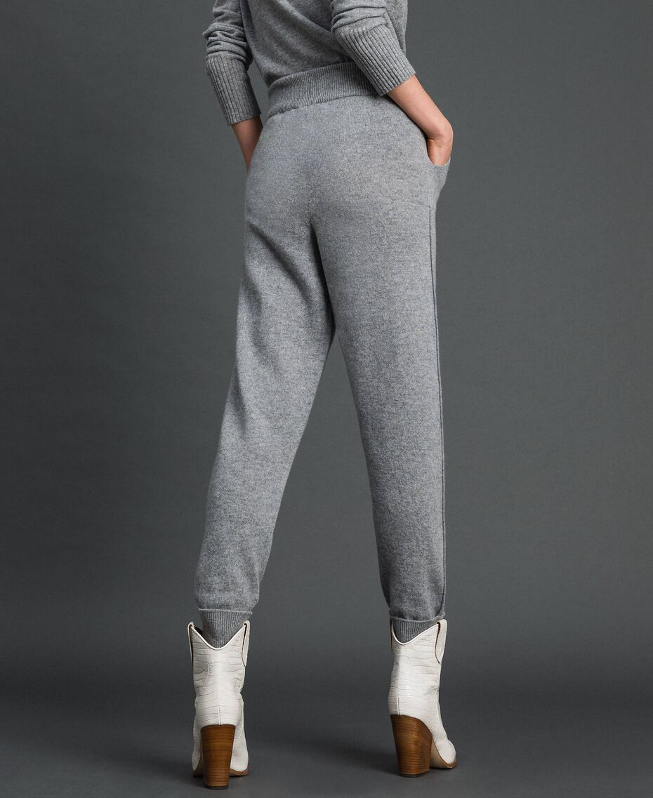 Wool and cashmere jogging trousers Melange Grey Woman 192TT3024-03