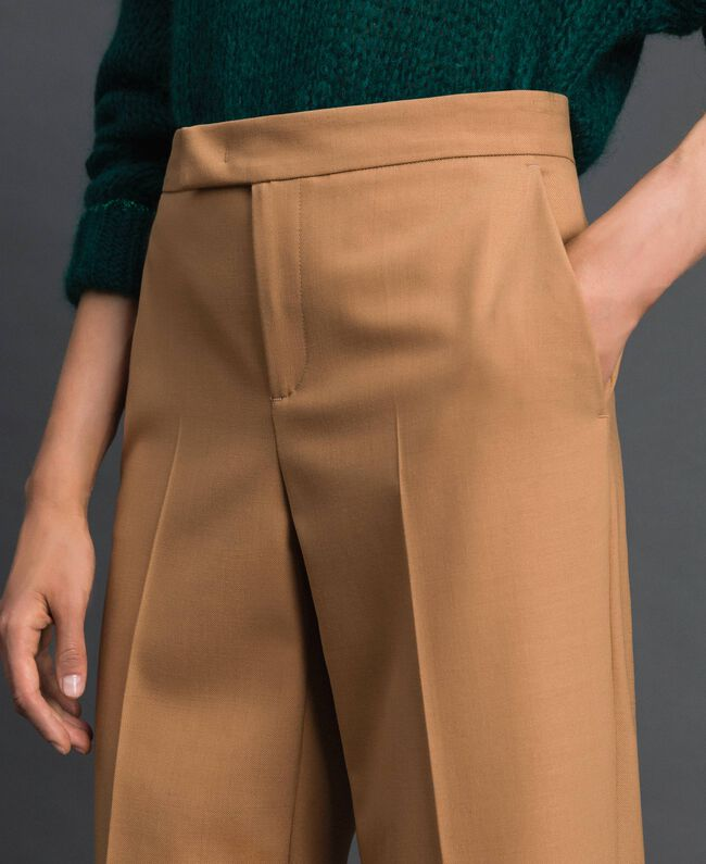 Cigarette trousers in technical wool Camel Woman 192TT2455-04