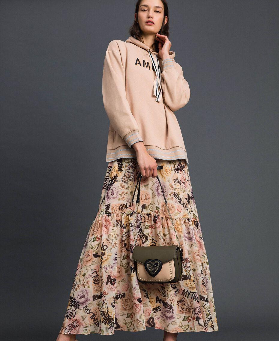 Long dress with floral and graffiti print Vanilla Flower Graffiti Print Woman 192MP2221-0T