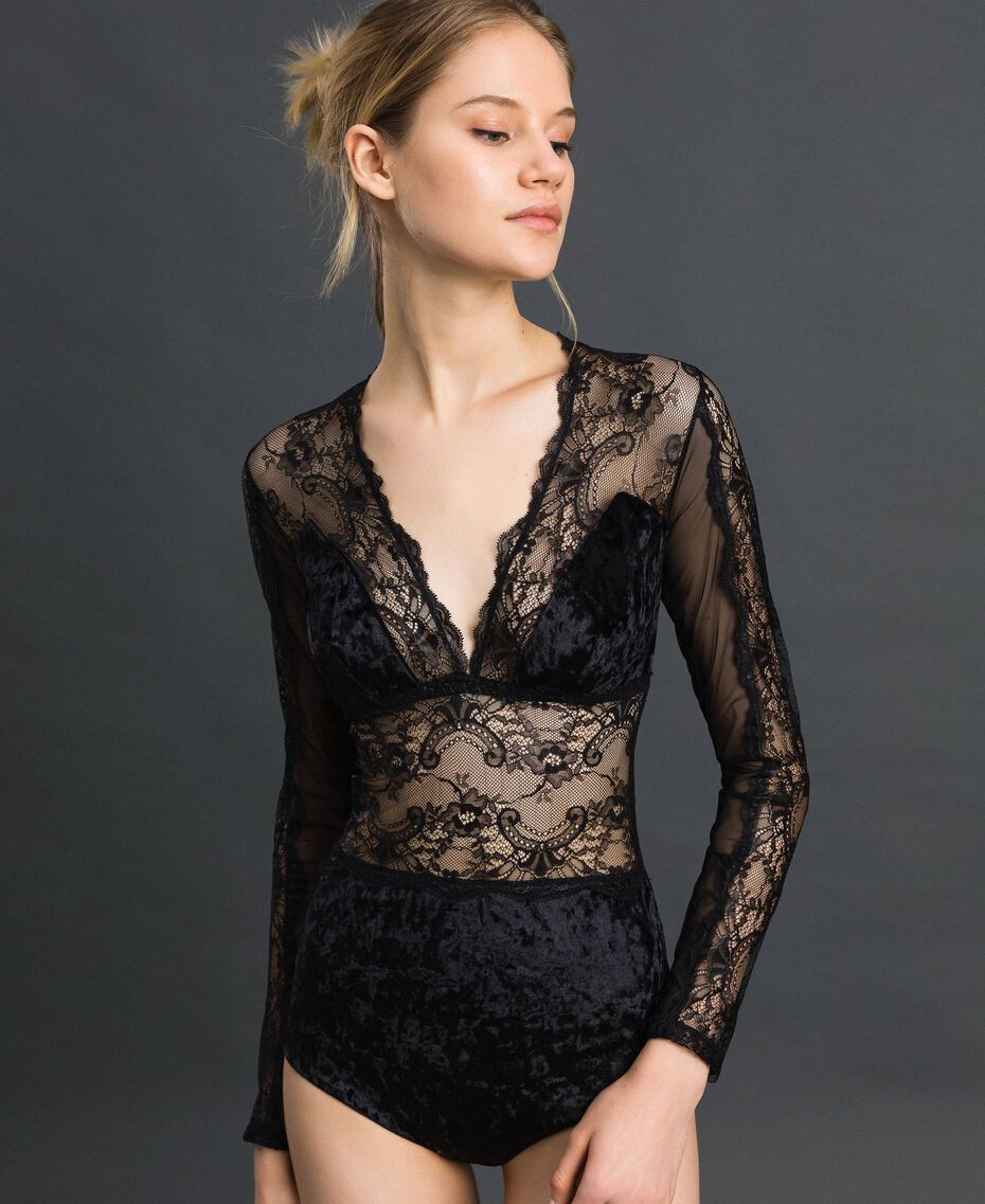 Laminated lace and velvet bodysuit Black Woman 192LL6HYY-02