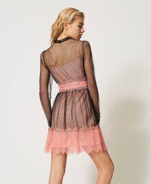Robe en tulle et dentelle Bicolore Noir / Rose «Pêche Blossom» Femme 202TP2201-03