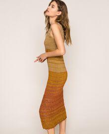 Vestido largo de tejido de lúrex de rayas Rayas Multicolor Oro Mujer 201TT3091-04