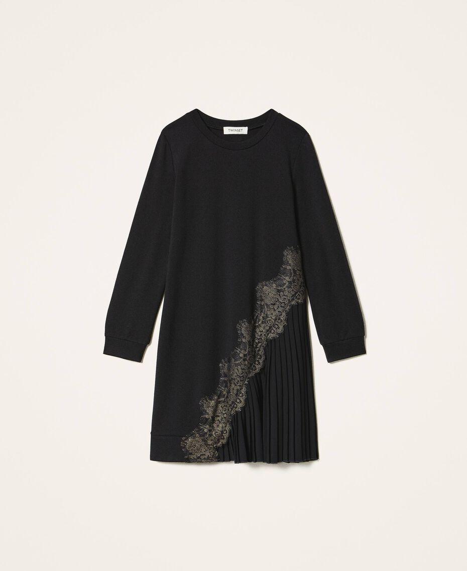 Pleats and lace dress Black Child 202GJ215A-0S