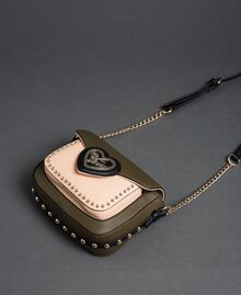 "Two-tone faux leather shoulder bag with studs ""Vetiver"" Green / Blossom Pink Woman 192MA7103-02"