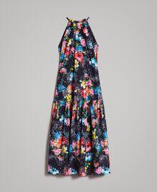 Robe longue avec imprimé floral et encolure américaine Imprimé Fleur Multicolore Noir Total Femme 191MT2294-0S