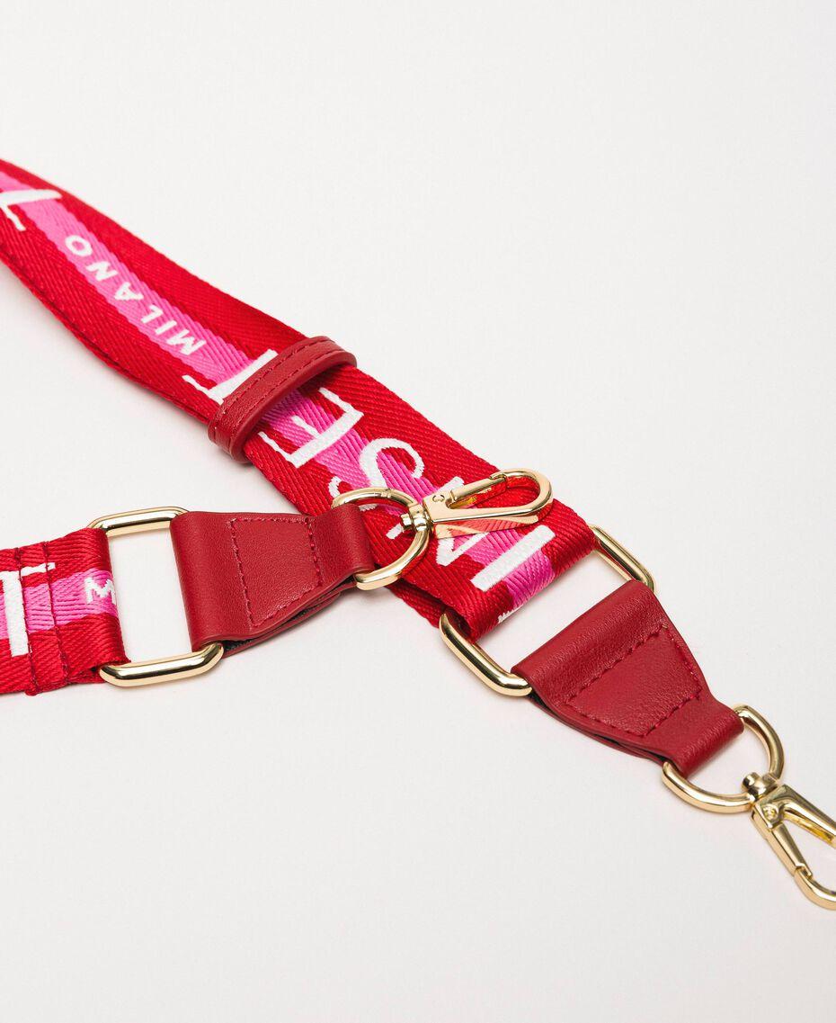 Bandoulière en gros-grain avec logo Bicolore Rouge «Géranium» / Rose «Jazz» Femme 201TO8210-02