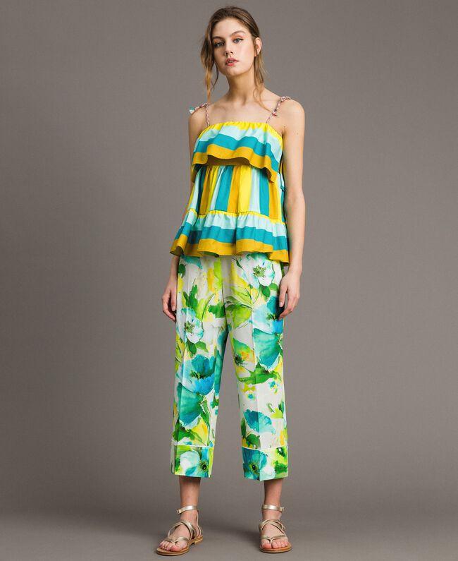 """Pantalon en marocaine à imprimé floral Imprimé """"Jardin Jaune"""" Femme 191TT2471-01"""