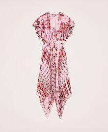 Robe en crêpe georgette imprimé, avec plis et volants Imprimé Géométrique Rose «Bonbon» Femme 201ST2185-0S