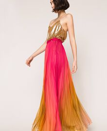 "Pleated chiffon long skirt ""Sugar Coral"" Red / Golden Yellow Fadeout Print Woman 201TT2520-03"
