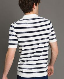 "Crêpe cotton striped polo shirt Two-tone Opaque White / ""Blackout"" Blue Man 191UT3030-03"