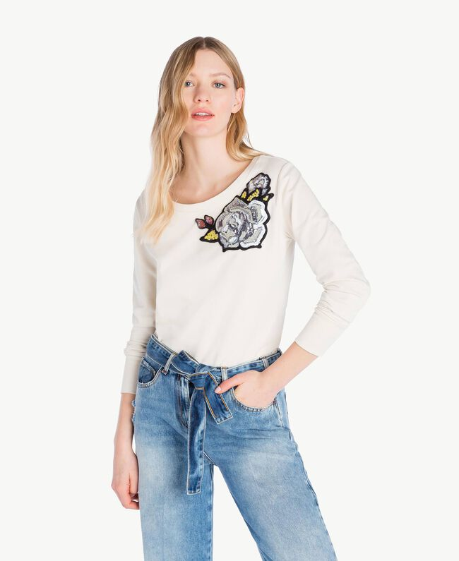 Sweat-shirt rose Blanc Parchemin Femme JS82H5-01