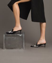 Embroidered satin mules Black Woman 191TCT016-0S