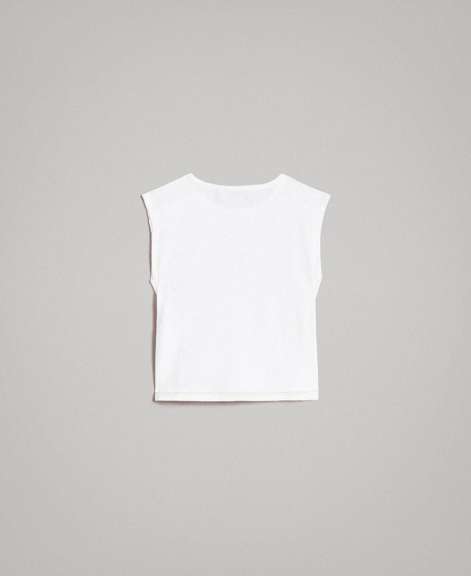 T-shirt en coton avec imprimé brillant Bicolore Blanc Optique / Imprimé Sucette Enfant 191GB2770-0S