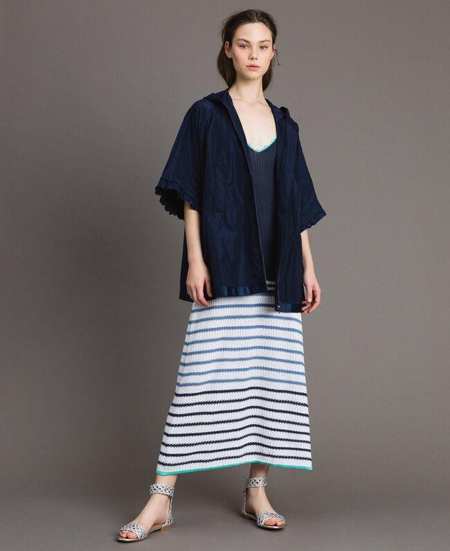 Robe longue ajourée à rayures Multicolore Rayures Bleu Nuit Femme 191MT3082-0T